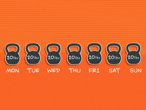 illustration of 7 20-pound kettlebells for every day of the week on orange background