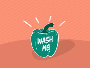 """An illustration of a green pepper with the words """"wash me"""" written on the side, to represent unwashed fruits and vegetables"""