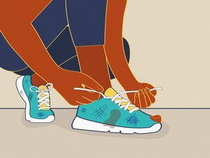 illustration of runner tying laces of old running shoe with hole and scuff marks