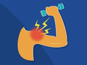 illustration showing one arm with red circle and lightning bolts signifying pain lifting a blue dumbbell