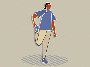illustration of person in purple shirt stretching quad to warm up before exercise