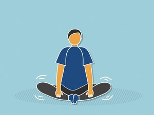 illustration of person bouncing legs doing ballistic butterfly stretch