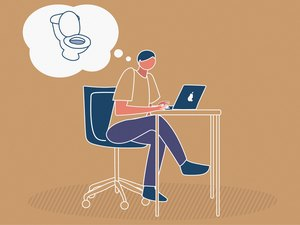 Illustration of a person thinking about the toilet while working, to represent holding in your poop