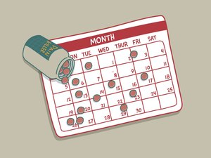illustration showing calendar with pill bottle depicting taking painkillers regularly