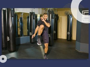 photo of BoxUnion coach Justin Blackwell doing quick cardio kickboxing workout
