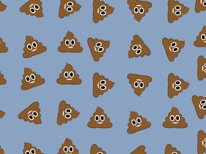 Illustration of poops with smiley faces in a pattern on a blue background