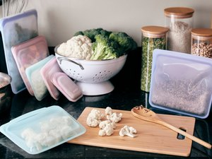 image of stasher bags with food on kitchen counter