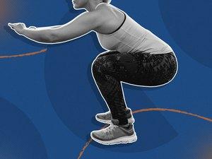 photo of woman doing squat exercise on blue background