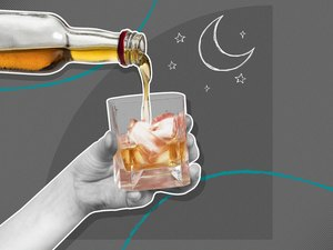 mixed media graphic showing hand pouring whiskey on gray background with moon and stars illustration