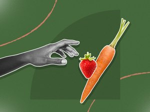 mixed media graphic showing hand reaching for a strawberry and carrot