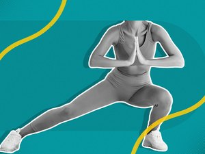 mixed media image of woman in leggings and sports bra doing a side lunge on teal background