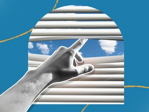 mixed media graphic of hand poking through window blinds to demonstrate staying inside