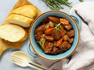 Traditional  beef goulash - Boeuf bourguigno.Stew meat with vegetables