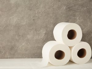 Toilet paper close-up on grey background with copy space