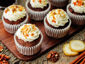 pumpkin pie spices walnuts banana cupcakes with salted caramel and cream cheese frosting