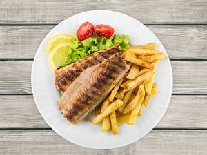 Fish, French Fries, Grilled