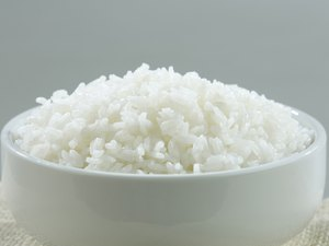Jasmine Thai rice in a rice bowl isolated