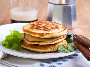 Pile of sweetcorn and herb pancakes