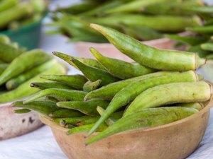 Fresh Okra in the Market