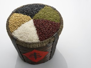 Rice bucket filled with Chinese grains and