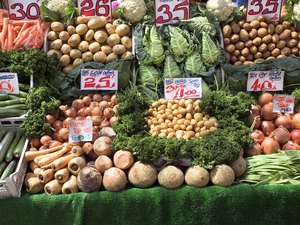 Vegetables display with prices at a store