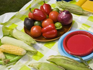 foods at picnic table
