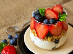 Fresh Yogurt with strawberries .