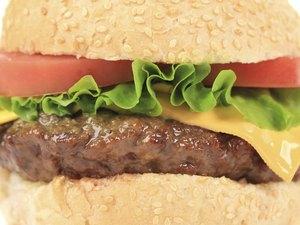Tasty cheeseburger close-up.