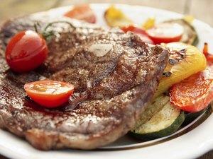 Kobe beef ribeye steak with grilled vegetables