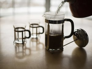 French Press Coffee Pour on a Cold Winter Morning