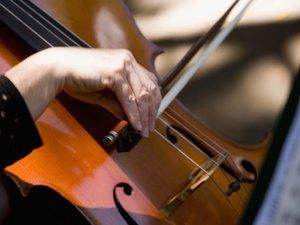 Close-up of a woman playing the cello, Balboa Park, San Diego, California, USA