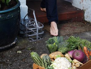 Low section of person walking towards crate of vegetables outside house