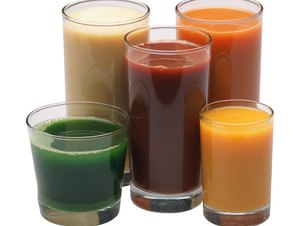 Glasses of fruit and vegetable juice