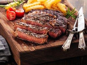 Sliced Steak Ribeye with french fries