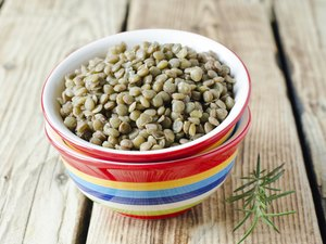 Boiled green lentils in a bowl
