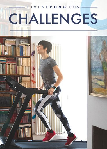 woman on treadmill at home doing 30-day challenge