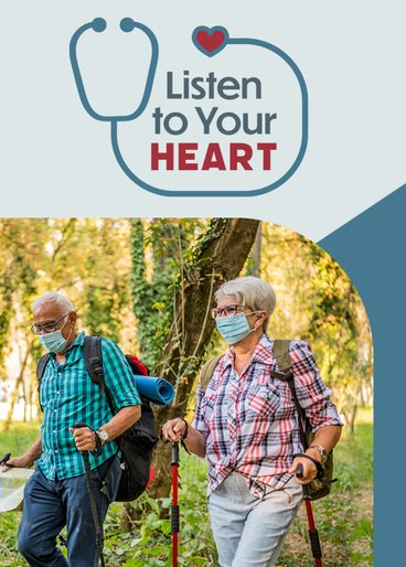 listen to your heart logo with stethoscope above photo of older couple hiking with face masks