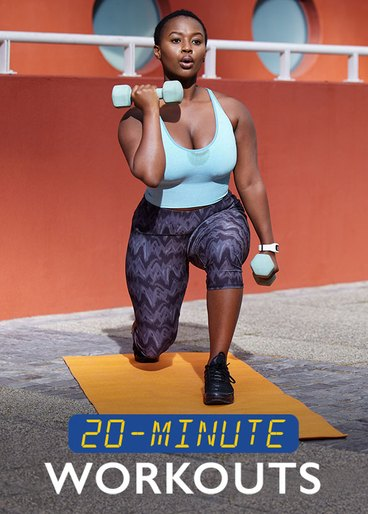 woman doing quick workout with dumbbells outside