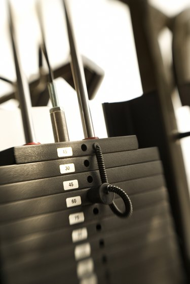 Weights on exercise machine