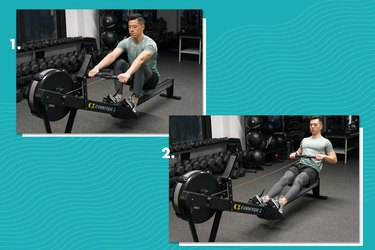 Proper form for rowing machine.