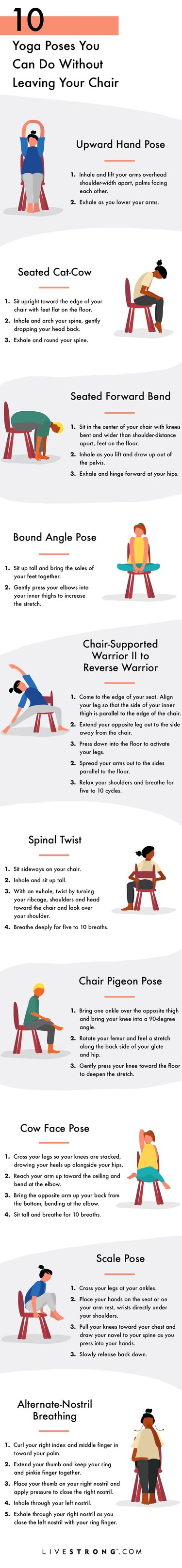 10 Yoga Poses You Can Do Without Leaving Your Chair graphic