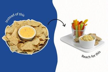 healthy junk food veggies with hummus