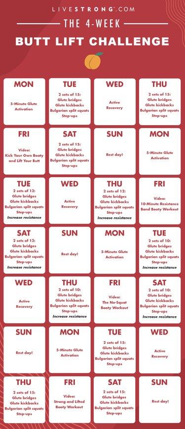The 4-Week Butt Lift Challenge calendar