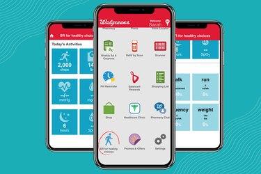 Screenshots of Walgreens Balance Rewards walking app
