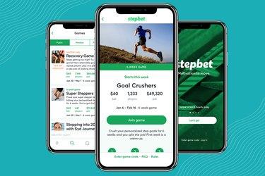 Screenshots of StepBet walking app