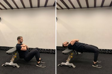 Man demonstrating how to do a hip thrust exercise for glutes