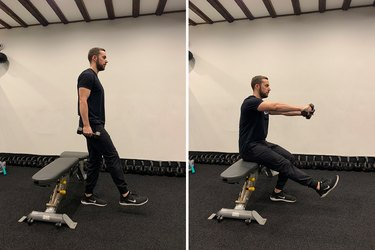 Man demonstrating how to do a single-leg squat for glutes