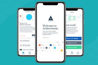 Screenshots of Achievement walking app