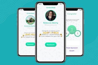 Screenshots of Fitfetti walking app