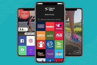 Screenshots of Charity Miles walking app